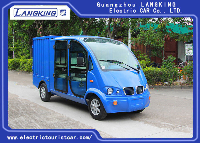 Blue Color Electric Patrol Car 4kW DC Motor Driven Battery Powered Carry Van With Enclosed Cargo Box
